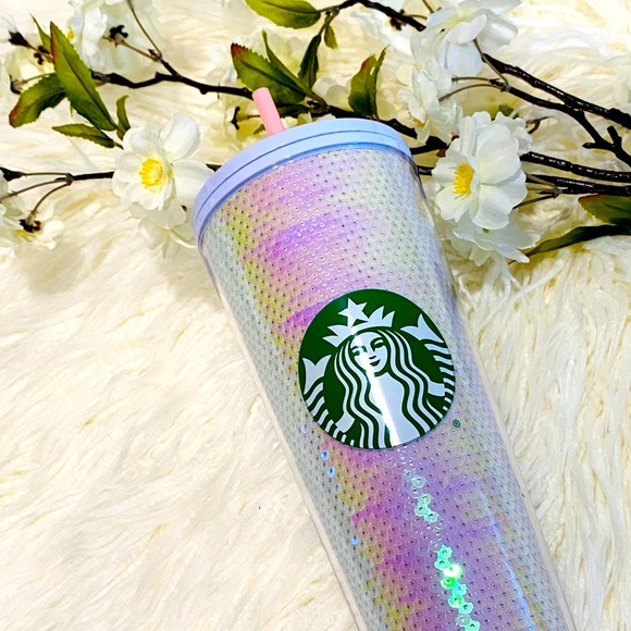 Starbucks Holiday 2020 White Pink Sequin Cold Cup